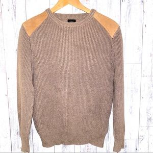 J.crew woodsman brown tan leather patch sweater S